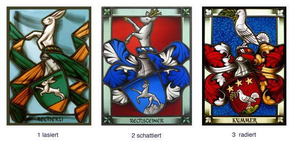 Maltechniken der Glasmalerei: Lasieren, Schattieren, Radieren -Familienwappen-Wappenscheiben-Glasmalerei-Bleiverglasung-Heraldik