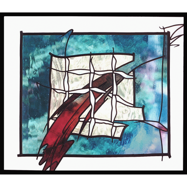 «Hoppla» Echtantik- und Acrylglas verbleit, Glas-Design- Glasmalerei-Glaskunst-Bleiverglasung