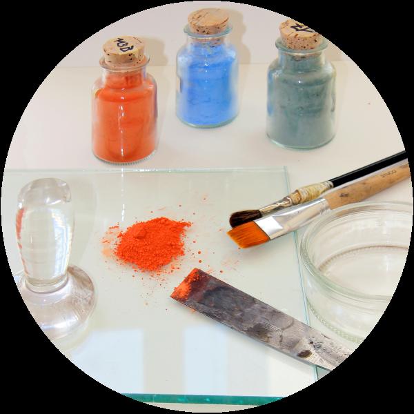 Arbeitstechnik Glasmalerei – Email und Oxydfarben